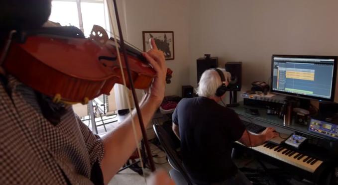 """Image - Derek Mason recording the viola performances of Thomas Beckman for the """"Colours of Edziza""""film, Oct. 2014"""